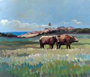 Vaches de Bréhat 17x20cm acrylique sur bois